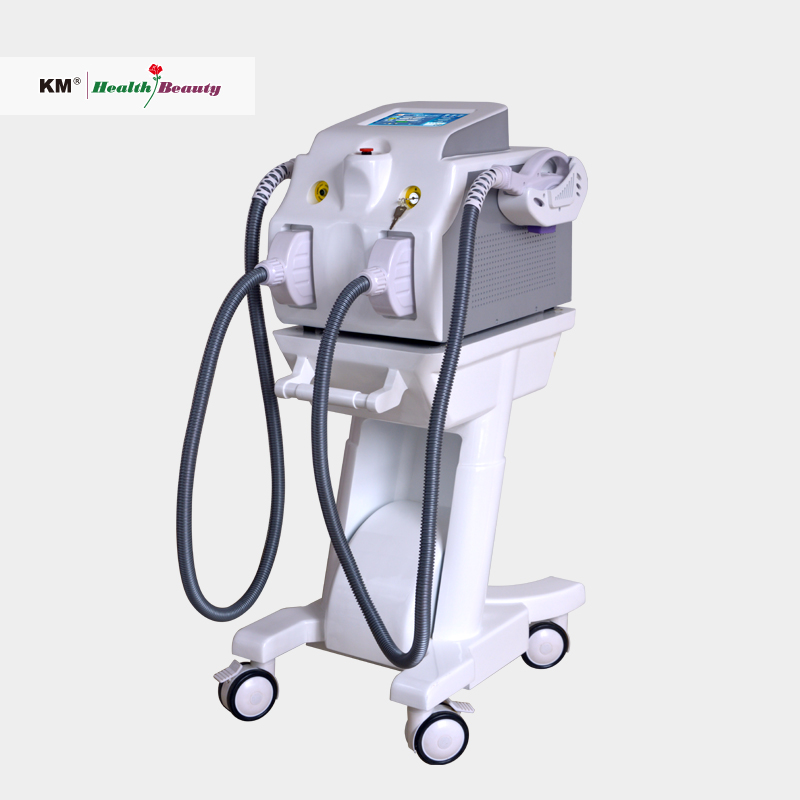Portabl shr ipl laser hair removal machine with one IPL handle, one SHR handle